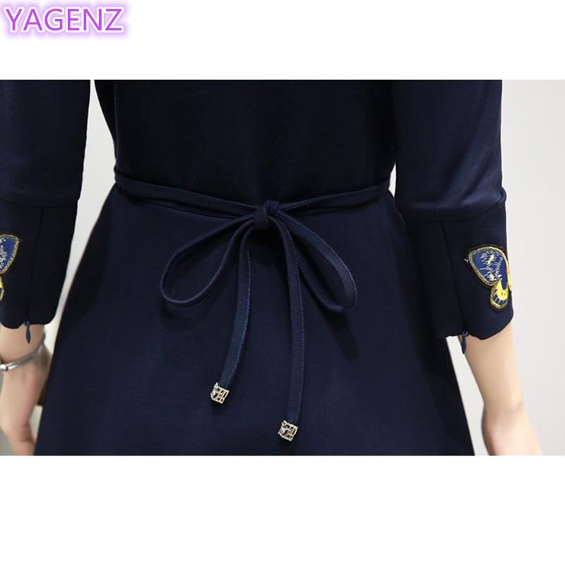 YAGENZ Fashion Gaun Elegan Kupu-kupu Bordir Dresses Plus ukuran Gaun - Pakaian Wanita - Foto 5