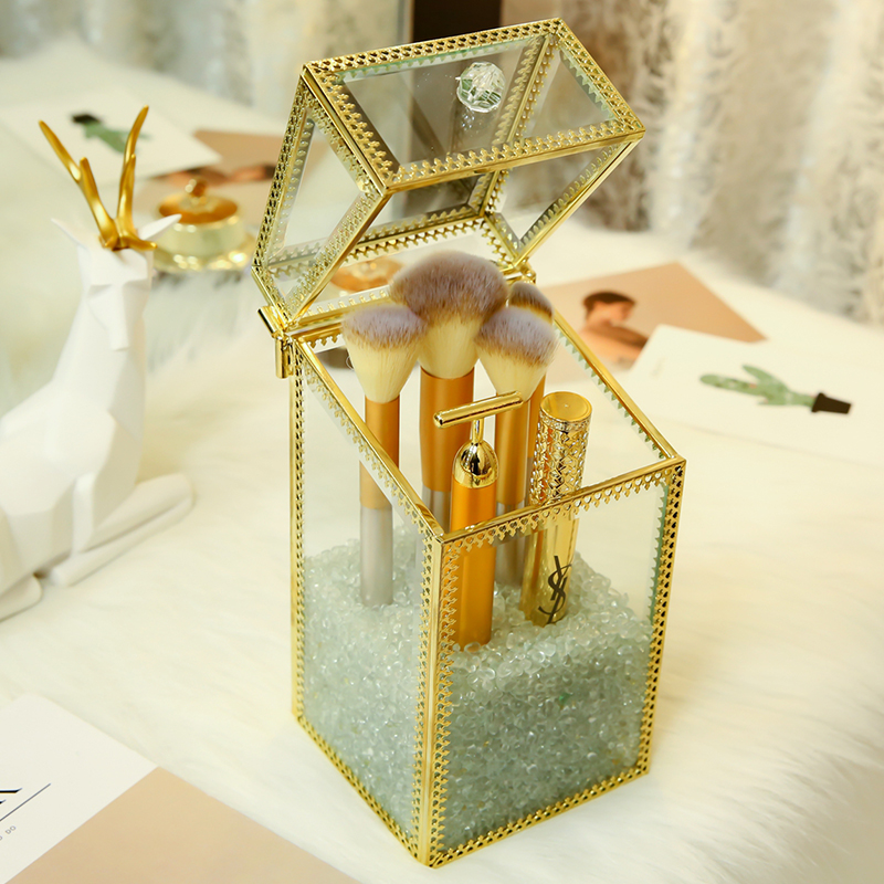 Box Pen-Brushes Storage-Holder Makeup-Tools Case Glass With Sand-Beads Clear