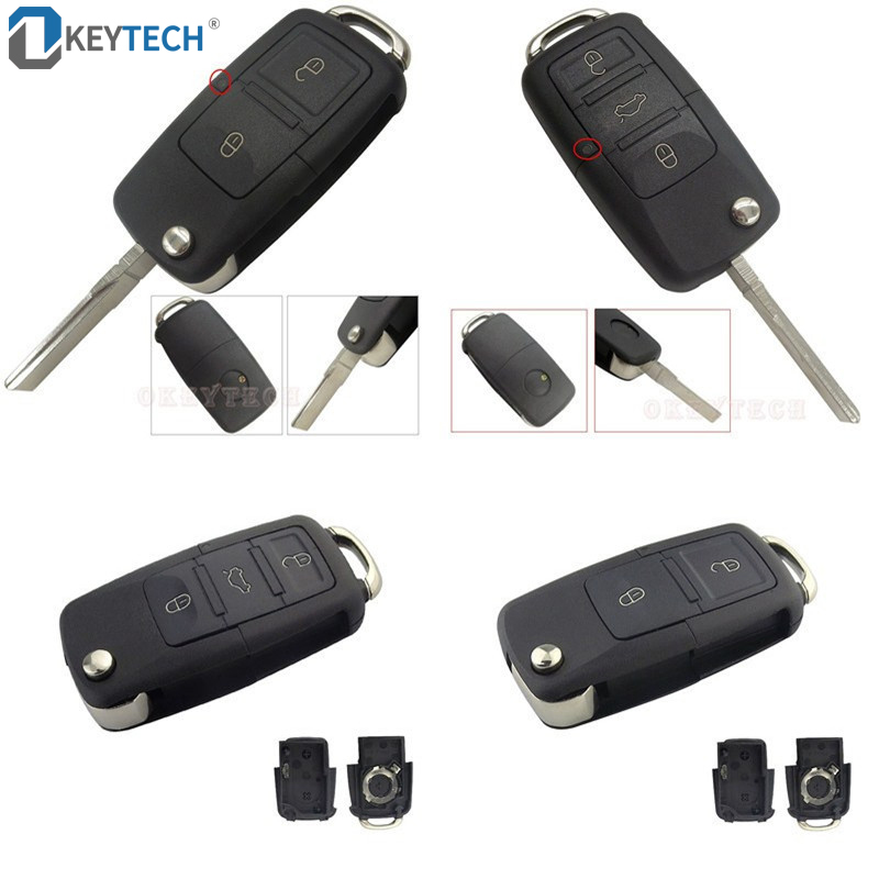 OkeyTech Switchblade Key Shell Flip Folding Replacement Car Remote Key Cover Case 23 Buttons For Volkswagen B5 Golf Polo Passat
