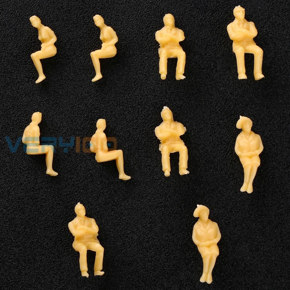 100pcs 1:50 O Scale Beige All Seated Figures People Model Railway Scenery