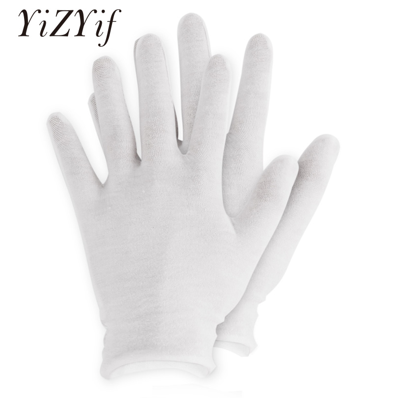 12Pairs White Cotton Gloves Thin Elastic Soft Gloves For Dry Hand Moisturizing Cosmetic Eczema Hand Spa Coin Jewelry Inspection