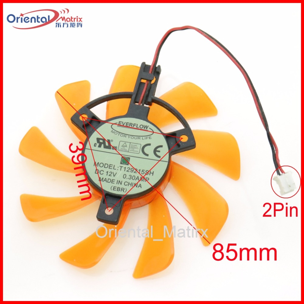 Free Shipping T129215SH 12V 0.30A 85mm 39x39x39mm For ZOTAC Graphics Card Cooling Fan 2Wire 2Pin
