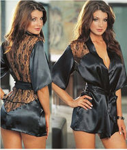 New Women Black Satin Lingerie Robe Lace Sleepwear Nightwear Nightdress