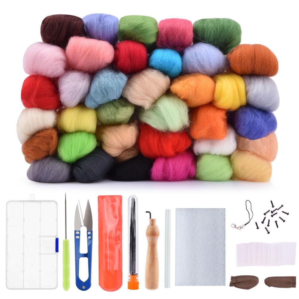 1Set/36Colors Wool Felting Needle Animal Wool Felt Roving Felting Starter Tool DIY Handwork Craft Kit For Needlework Sewing