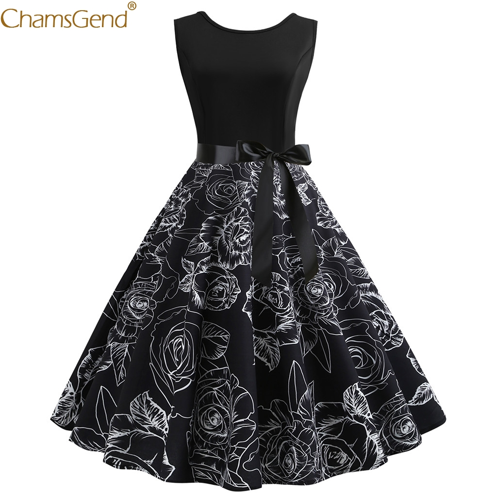 Women Sleeveless Party Dresses Autumn Winter Slimming Neck Evening Printing Party Prom Swing Dress Quality Dec22