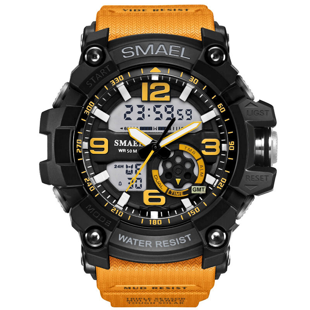 Digital watch men sport watches dual display LED digital analog wrist watch swim waterproof orange gift clock Relogios Masculino