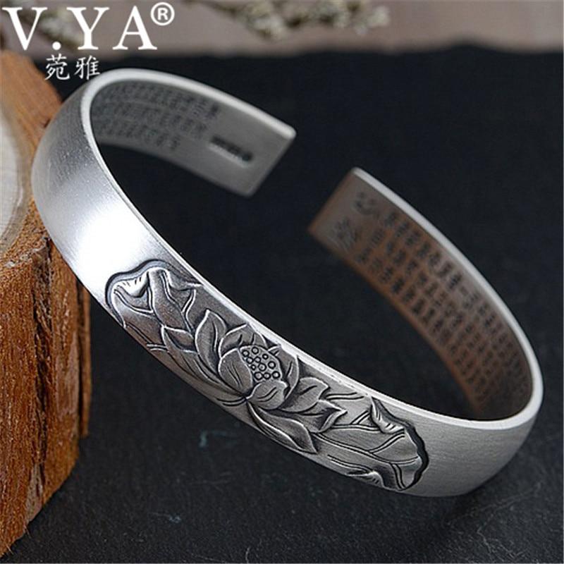 Takı ve Aksesuarları'ten Manşet Bilezikler'de V. YA 990 Ayar Gümüş Bilezik Açık Bileklik Kadınlar Bayanlar için Kalp Sutra Lotus Çiçek Bilezik Tay Gümüş Takı'da  Grup 1