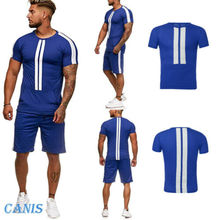 Hot Men Set 2019 New Summer TrackSuit T Shirt Sport Suit Sets Tops+Pants Tennis Wear
