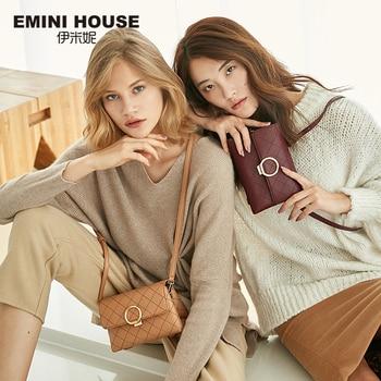EMINI HOUSE Diamond Lattice Crossbody Bags For Women Luxury Handbags Women Bags Designer Split Leather Round Lock Shoulder Bag Shoulder Bags