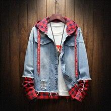 2018 Autumn Winter Fashion Jacket For Men Plaid Stripe Spliced Ripped Denim Jacket Men Youth Streetwear Hip Hop Jacket Hooded недорого