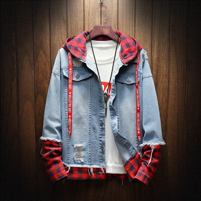 2020 Spring Autumn Fashion Jacket For Men Plaid Stripe Spliced Ripped Denim Jacket Men Youth Streetwear Hip Hop Jacket Hooded