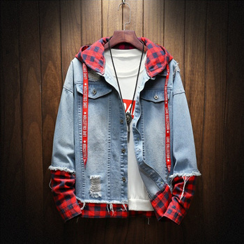 2020 Spring Autumn Fashion Jacket For Men Plaid Stripe Spliced Ripped Denim Youth Streetwear Hip Hop Hooded