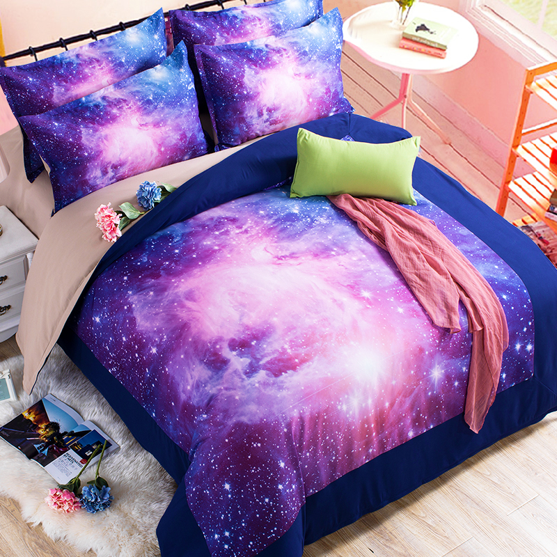 colour stars hipster galaxy 3d bedding sets universe space duvet cover bed sheet fitted sheet pillowcase twin queen king size in bedding sets from home - Space Bedding