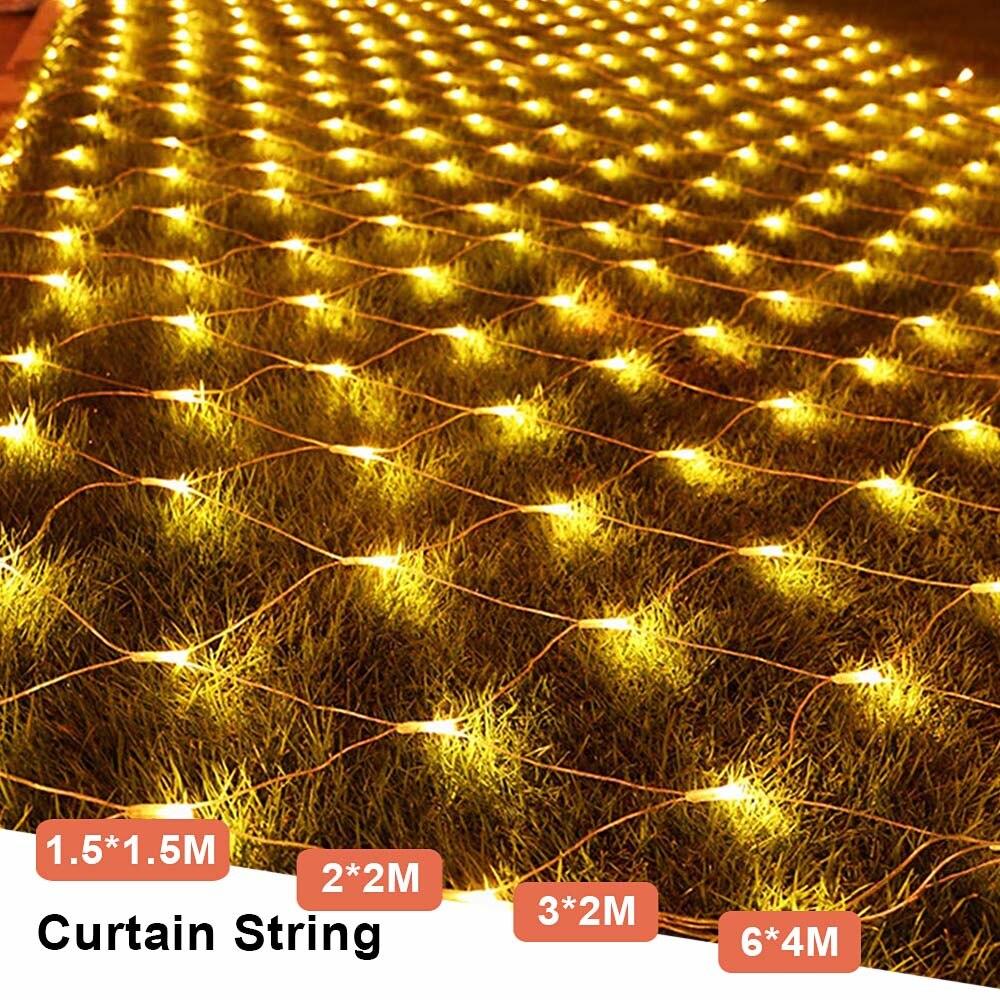 Mesh LED Lights 220V Holiday Wedding Party Outdoor String Lights Chain Decoration Garden Lamp Fairy Lights Net Garland slingers (18)