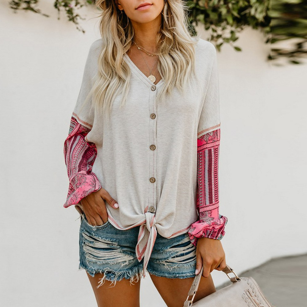 2018 Boho Casual Office Lady Women Tops Loose Cardigan Lantern Sleeve Color Block Patchwork Girls Travel White Female Sweaters
