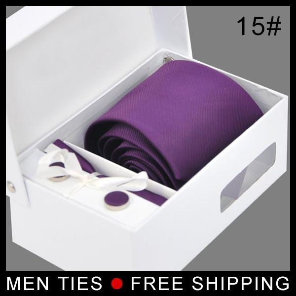 Sólido Hombres corbata morada fija Clásica corbata set de moda de Negocios Formal Corbata set venta al por menor con la caja de regalo