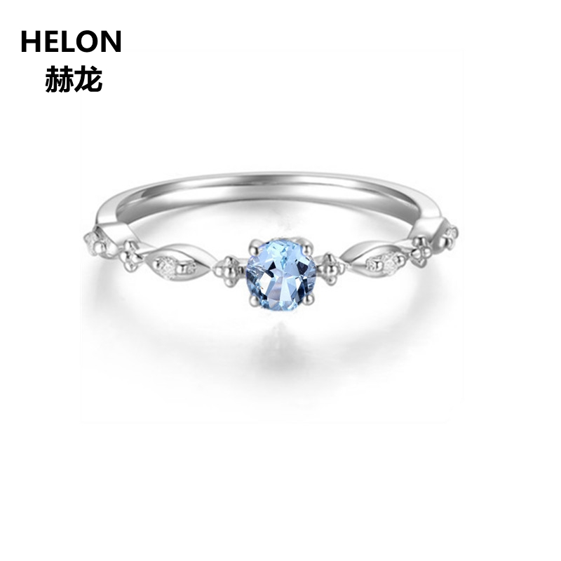 Trendy Solid 14k White Gold Natural Diamonds Engagement Ring for Women 4.5mm Round Cut Sky Blue Topaz Fine Jewelry Setting бра a 9250 2