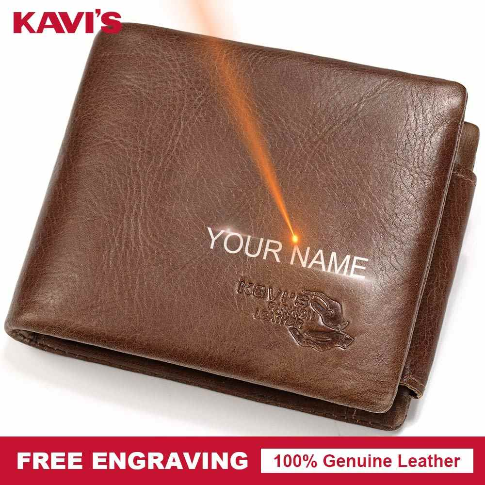 KAVIS New Free Engraving Trifold Genuine Leather Wallet Men Coin Purse Male Cuzdan Portomonee PORTFOLIO Card Holder Vallet Walet