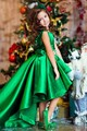 Abaowedding formal party long green kids dress evening gowns short front long back little girls ball gown dresses with train