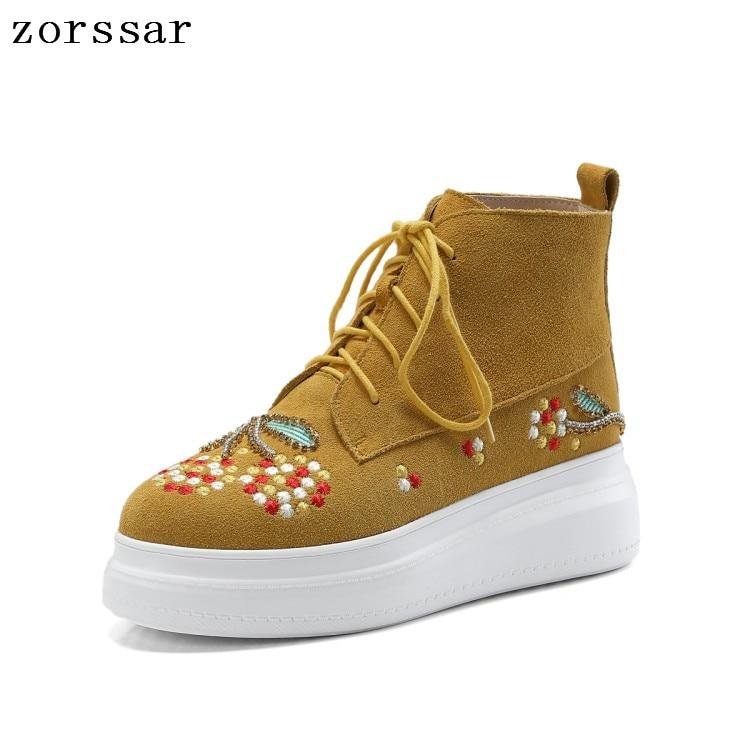 Las amarillo De Tobillo {zorssar} Cuero 2018 Mujeres Bordado Plataforma Zapatos Botas Negro Martin Mujer Moda Gamuza Tq1tZw1xI