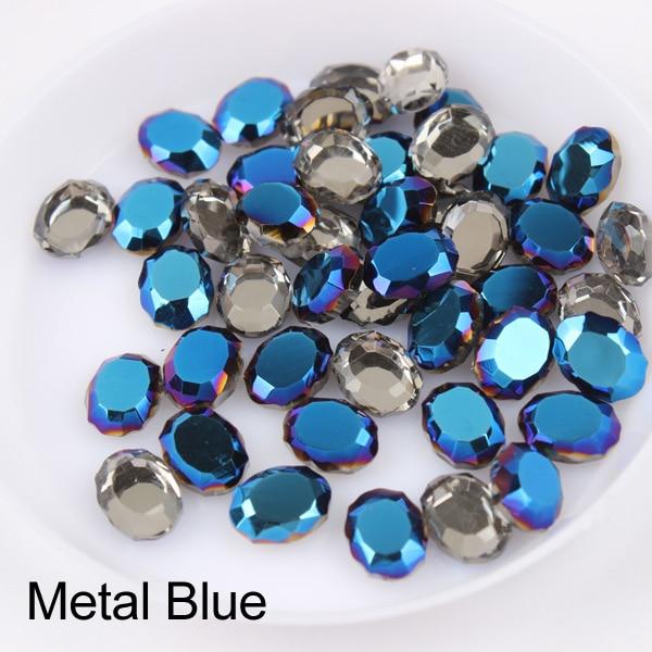 Зеркальная поверхность, не требующей горячей фиксации Стразы овальной формы 6x8 мм 30/100 шт./упак. для художественного оформления ногтей, ручная работа аксессуары свадебное платье для девочки ясельного возраста и сумка-чехол для нейл-арта - Цвет: Metal Blue