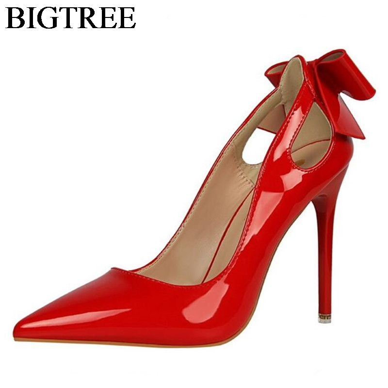 Bowtie Ladies Pumps Extreme Sexy High Heels Pointed Toe Women Shoes For Wedding Party Dress Stiletto Patent Leather Single Shoes genshuo 2017 women sexy valentine pointed toe stiletto high heels shoes ladies wedding dress bridal designer pumps zapatos mujer