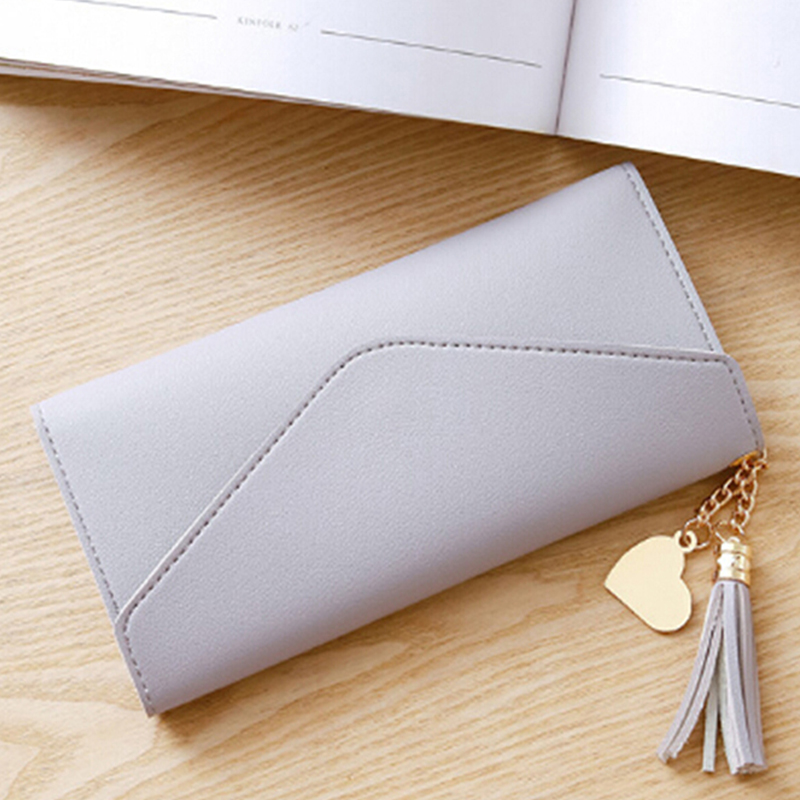 Women Long Wallet Coin Purse With Tassel PU Leather