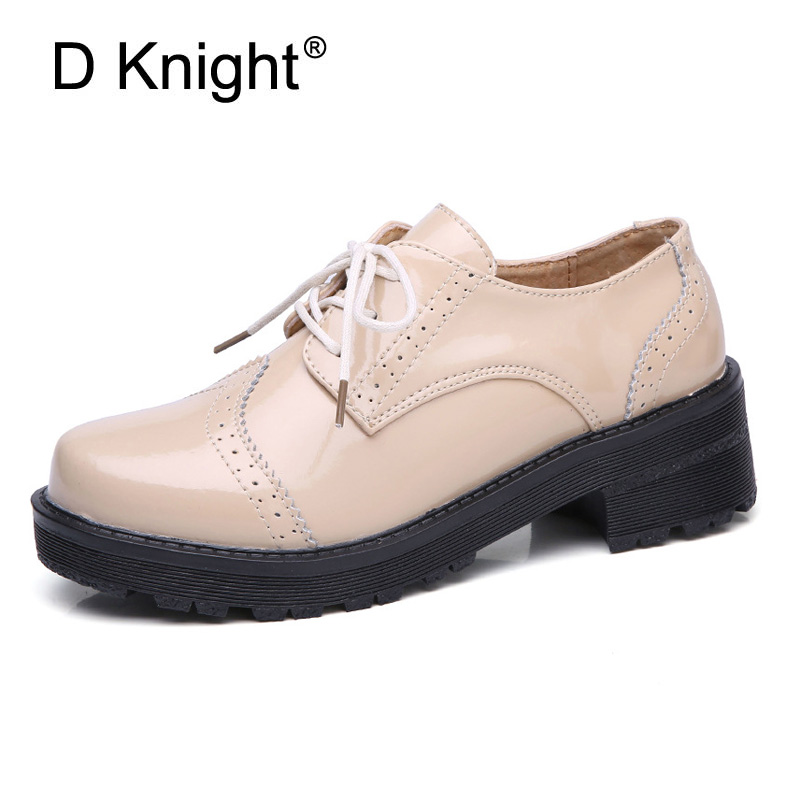 Classic Women Oxfords Shoes British Style Footwear Women Genuine Leather Platfrom Shoes Woman Lace Up Big Size Brogue Women Shoe