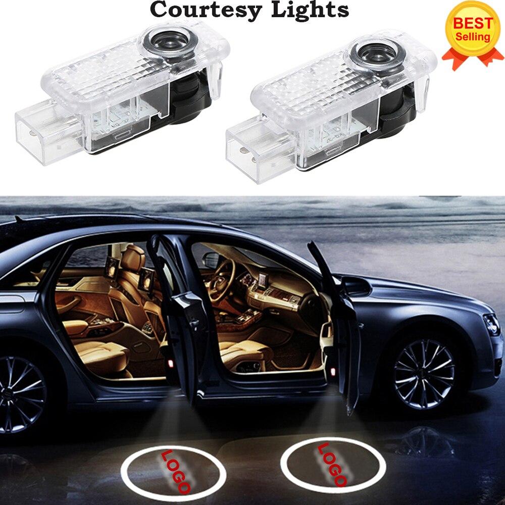 2x Pour AUDI Voiture Porte LED CERCLE de Lumière D'ombre de Fantôme Audi Logo Projecteur Courtoisie Lumières Auto Rétro-Éclairage Car Styling Bienvenue lumière