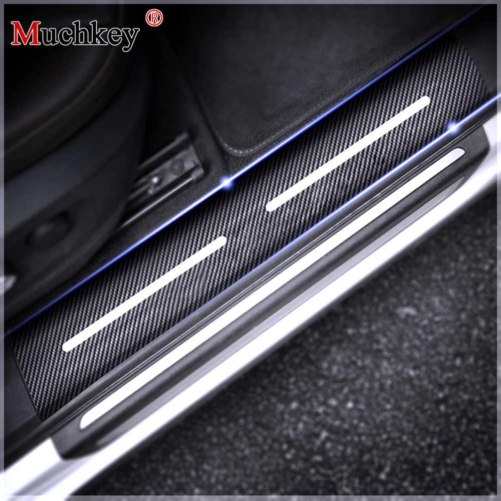 for Mazda Mazda 3 CX-3 MX-5 CX-5 Mazda6 CX-9 Door Sill Protector Car Kick Plate Guard Entry Threshold Stickers Black 4Pcs Carbon Fiber Scuff Plate Covers