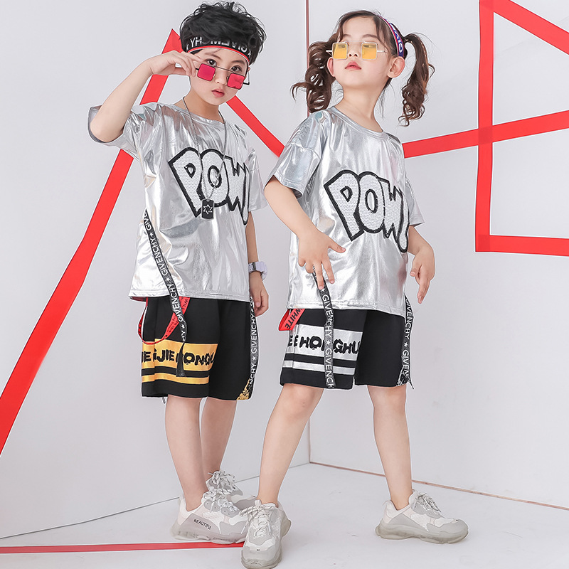 Children Hiphop Jazz Costumes Hip Hop Street Dance Clothes Kids Boys Girls Shinny Silver Color T Shirt Short Pants Stage Outfit