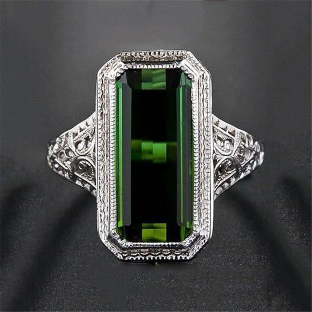 925 เงินสเตอร์ลิงแหวนผู้หญิง Emerald งานแต่งงานวันเกิดเครื่องประดับหมั้น Turquoise อัญมณี S925 Bizuteria