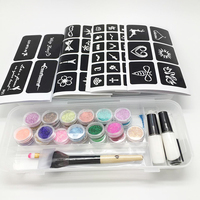 Temporary Diamond Glitter Tattoo Kit 24 Colors Powder 2 Glues 2 BrushesFor Temporary Tattoo Body Art