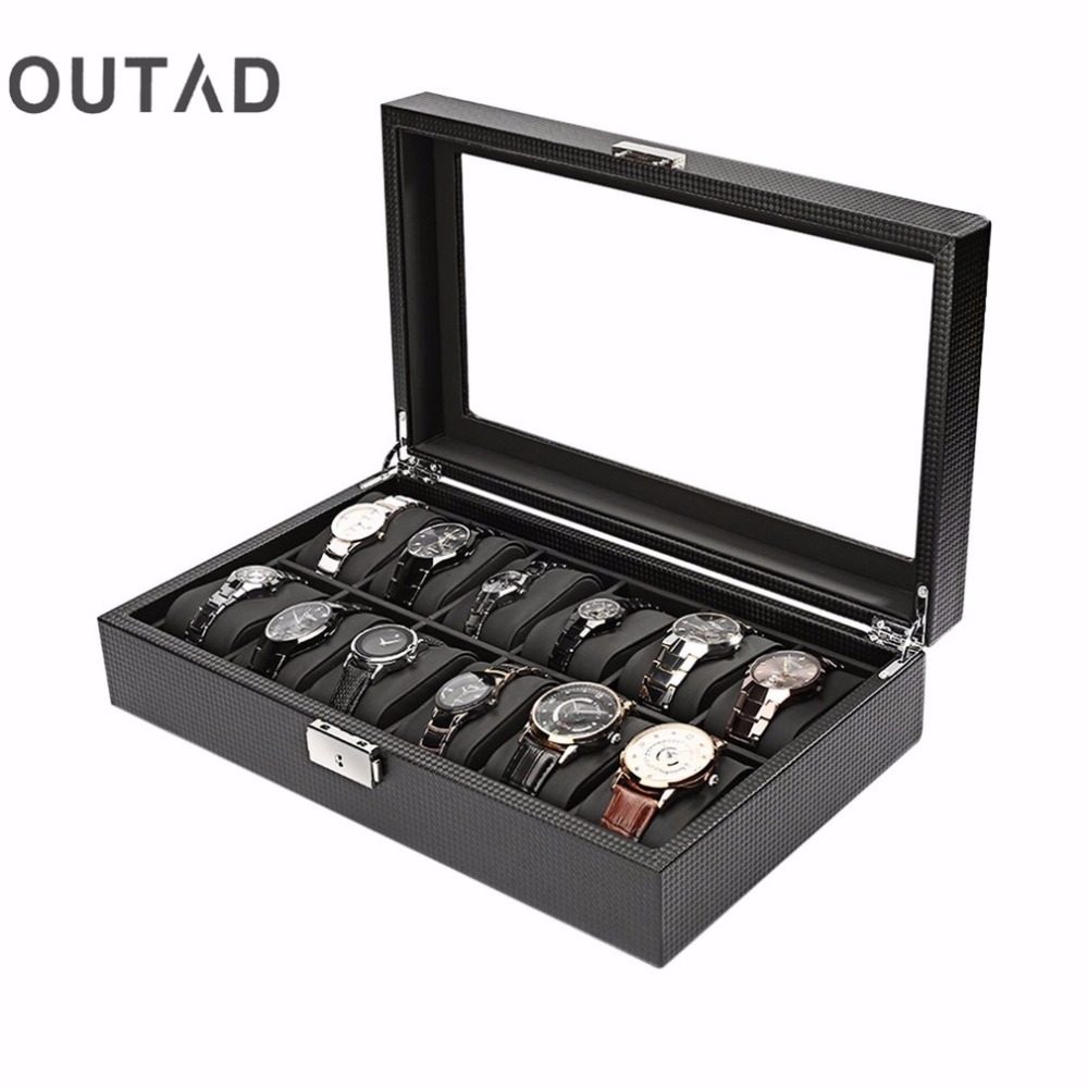 High Grade 12 Slot Luxury Carbon Fiber Display Design Jewelry Display Watch Box Storage Holder Large Glass Window