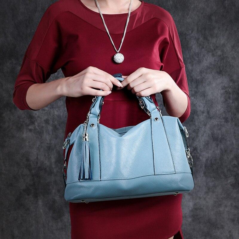 Sac à bandoulière Messenger de luxe pour femme sacs à bandoulière d'été pour femme sacs à main et sacs à main en cuir véritable sac fourre tout noir gland 2019