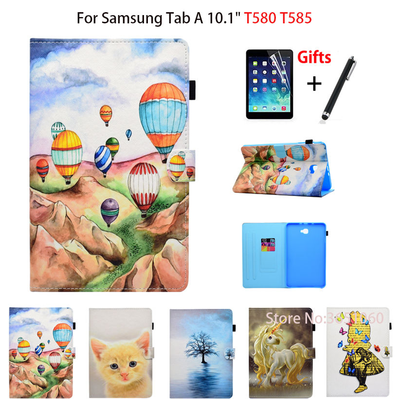 SM-T585N Tablet Case For Samsung Galaxy Tab A A6 10.1 2016 SM-T580 T585 T585N Smart Cover Cartoon PU Leather Shell+Film+Pen for coque galaxy tab a6 10 1 inch tablet case new kst flip pu leather casse cover for samsung galaxy tab a 10 1 t580 sm t585