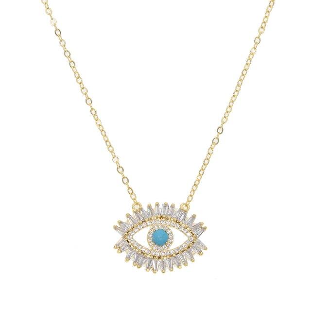 Mata Biru jahat Mata Kalung Emas Perhiasan Sederhana Womens Gadis drop pengiriman warna emas dainty cz kristal kalung gadis lady hadiah