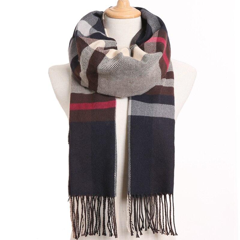 [VIANOSI] клетчатый зимний шарф женский тёплый платок одноцветные шарфы модные шарфы на каждый день кашемировые шарфы - Цвет: 40