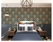 beibehang New European Damascus Dark Green Living Bedroom Background American Vintage papel de parede 3d Wallpaper papier peint