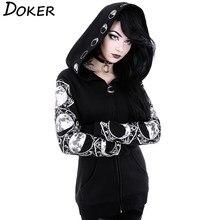 5XL gothique Punk femmes imprimer longue sweat à capuche et manches longues sweat-shirts décontracté veste à glissière hauts à capuche femme automne hiver pull à capuche noir.
