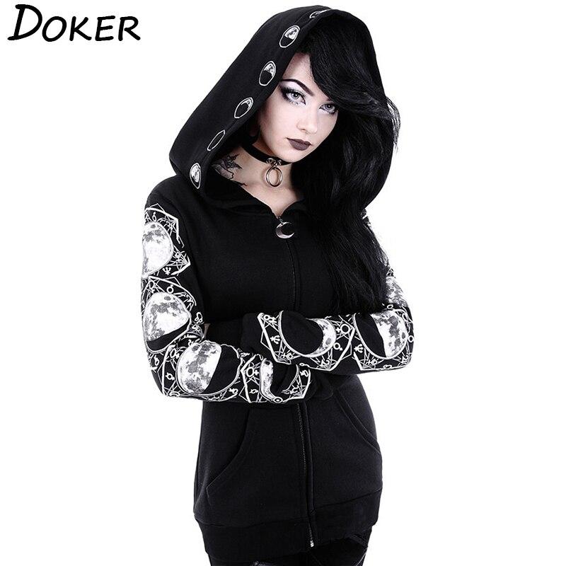 5xl gótico punk feminino impressão de manga comprida hoodies moletom casual com zíper jaqueta com capuz topos feminino outono inverno preto hoodies.