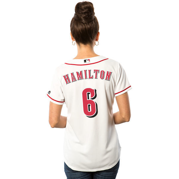 MLB Womens Cincinnati Reds Billy Hamilton White Home Cool Base Player Jersey