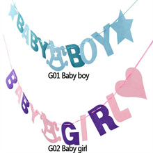 hot deal buy 1 set non-woven fabric baby boy/girl happy birthday party garland decorative baby shower event party kid children decor supplies
