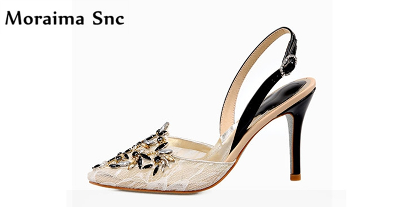 Moraima Snc Newest sexy women sandals pointed toe high heel fretwork crystal shallow Ankle buckle slingback party shoes