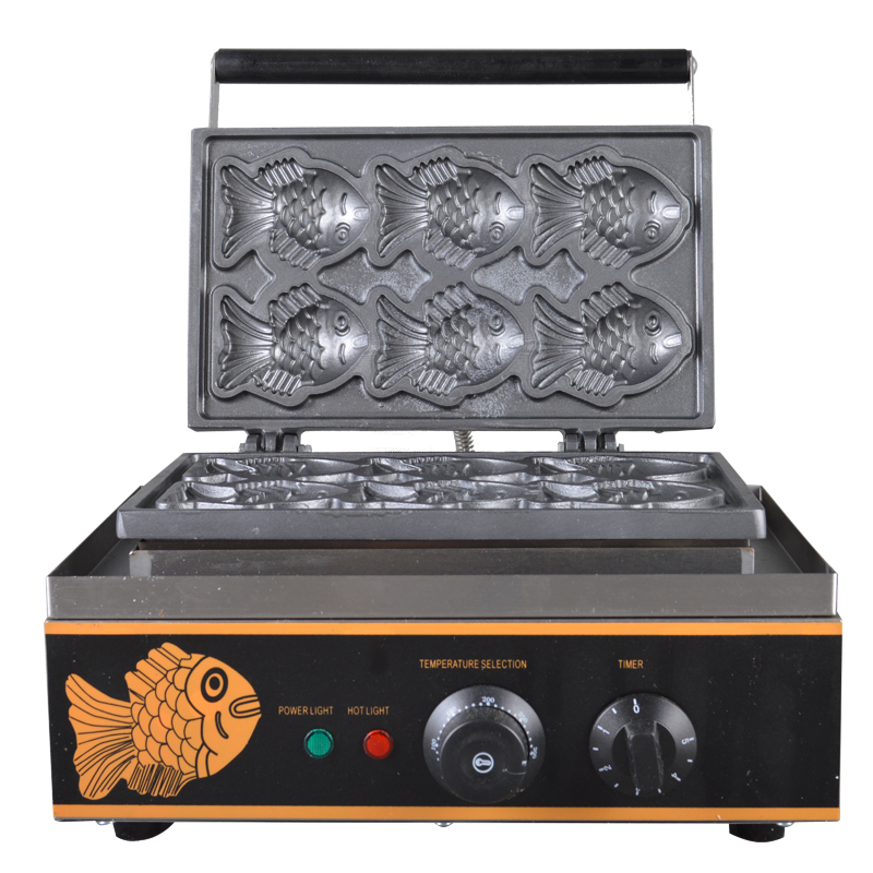 110V 220V Non-stick Commercial Electric Fish Waffle Machine Taiyaki Fish Waffle Iron Baker Waffle Maker 6pcs Free Shipping commercial non stick 110v 220v digital electric 23pcs walnut waffle maker iron machine