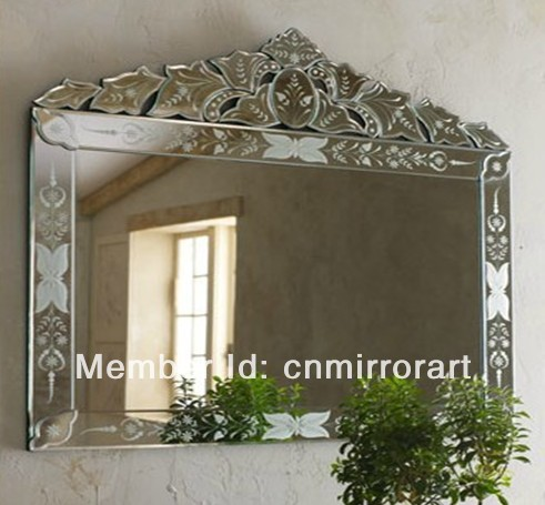 mr201239 rectangular big venetian wall mirror with hand etched flowers