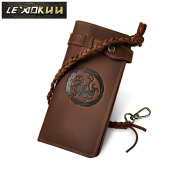 Cattle Male Casual Bifold Genuine leather Designer Card Coin Holder Fashion Organizer Checkbook Long Chain Wallet Purse 3377 new fashion brand wallet men leather bifold card checkbook holder long wallet organizer purse multifunctional card holder wallet