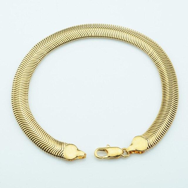 e1ffefec4d63 8mm espiga Flexible pulseras cadena de enlace para hombres mujeres amarillo  oro Color brazalete brazaletes