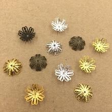 14 мм Мода Выдалбливают Цветы Из Бисера Caps Филигрань Разъемы DIY Изготовления Ювелирных Изделий 3 Цветов cy2132