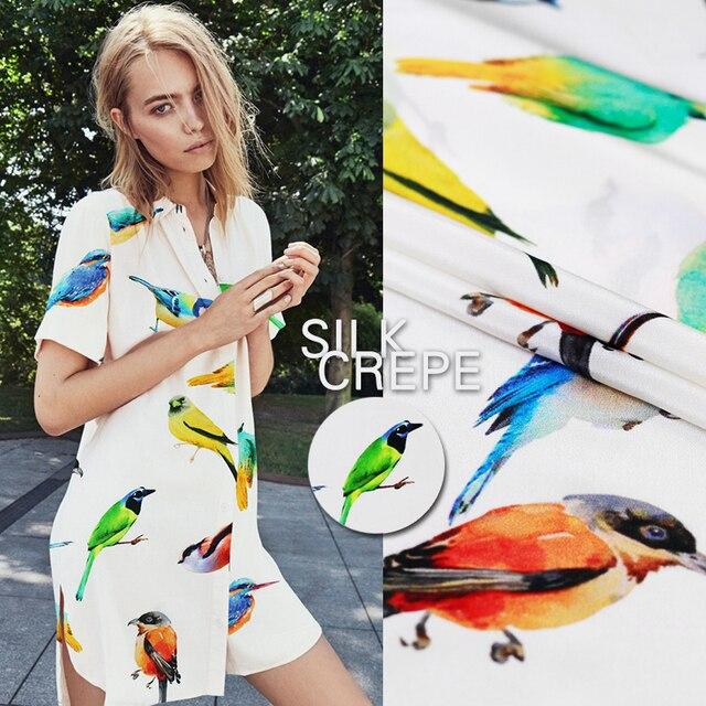 176a9d6098 Momme 12 pássaro paraíso pássaro branco tecido estampado de crepe de seda  pura tecido de seda